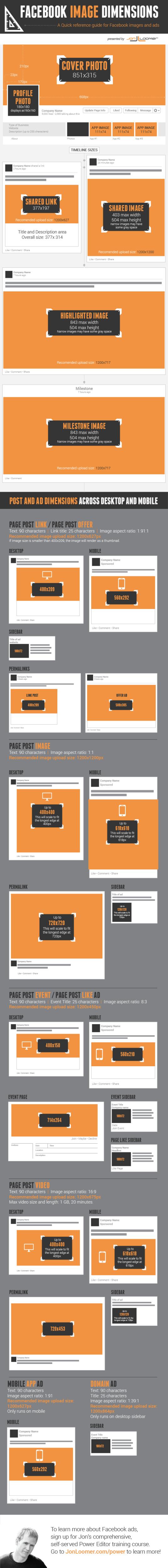 Toutes les dimensions  et tailles des images pour votre page Facebook