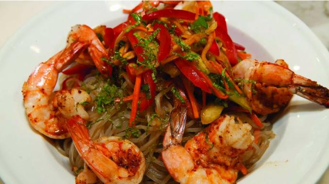 Recette : Salade de crevettes tigrées et de vermicelle de soja